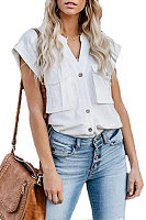 Button Down Collar  Flap Pocket  Plain Blouses