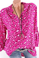 Women's V Neck Leopard Long Sleeve Blouse