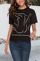 Round Neck  Print T-Shirts