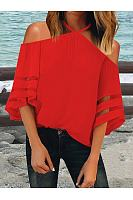 Sexy Halter Strapless Bell Sleeve Stitching Mesh T-Shirts