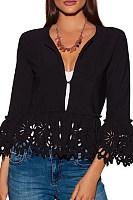 Band Collar  Fringe  Plain Jackets