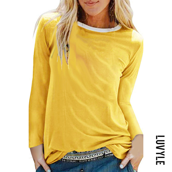 Yellow Brief Pure Colour Long Sleeve Round Neck T-Shirt Yellow Brief Pure Colour Long Sleeve Round Neck T-Shirt