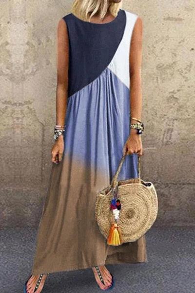 Round Neck Sleeveless Splice Maxi Dress