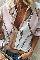 Fashionable Lapel Print Blouses
