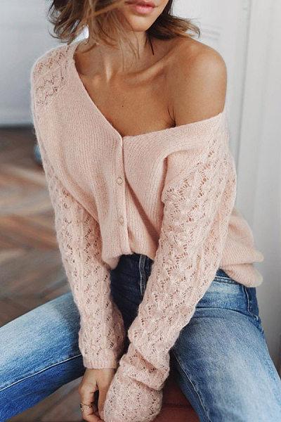 Women Fashion V Neck Single Breasted Plain Sweater