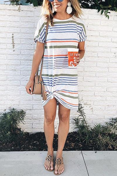 Fashion Round Neck Striped Mini Dress