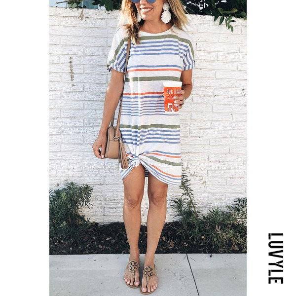 Stripe Fashion Round Neck Striped Mini Dress Stripe Fashion Round Neck Striped Mini Dress