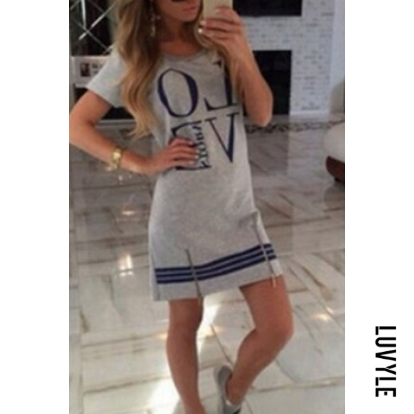 Gray Round Neck Zipper Letters Short Sleeve Casual Dresses Gray Round Neck Zipper Letters Short Sleeve Casual Dresses