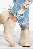 Short Chunky Faux Leather Plain Boots