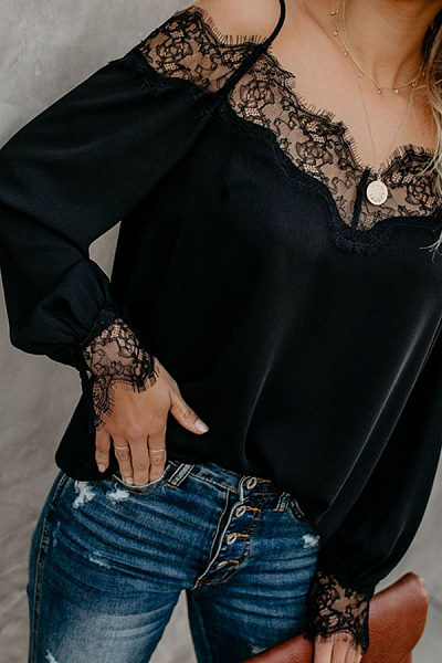 Spaghetti Straps Lace Patchwork Long Sleeve Blouses - Luvyle.com 45776a09b