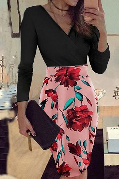 V Neck  Print  Long Sleeve Bodycon Dresses