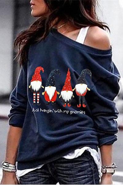 Women's Casual Santa Star Printed Collar Christmas Sweatshirt