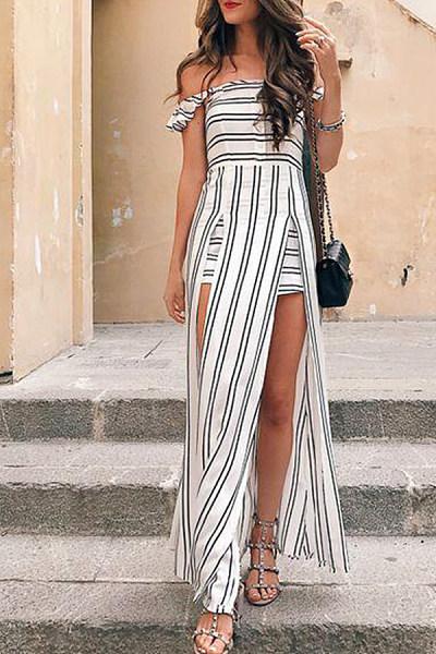 Off Shoulder  Backless  Stripes  Short Sleeve Maxi Dresses