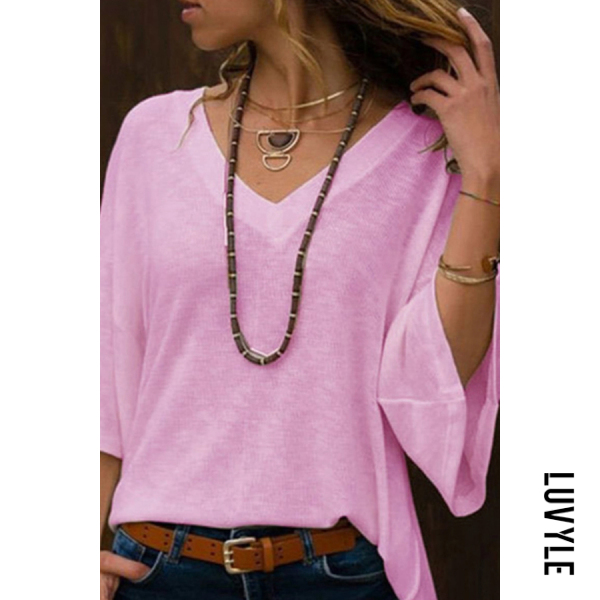 Pink Deep V Neck Bell Sleeve T-Shirts Pink Deep V Neck Bell Sleeve T-Shirts