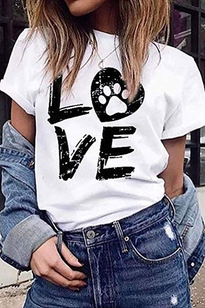 Casual Round Neck Letter Print Short Sleeve T-Shirt