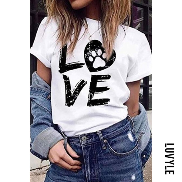 White Casual Round Neck Letter Print Short Sleeve T-Shirt White Casual Round Neck Letter Print Short Sleeve T-Shirt