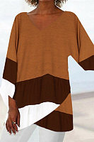 Casual Contrast Color Long-sleeved Top