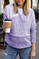 Round neck irregular stitching fashion sweater