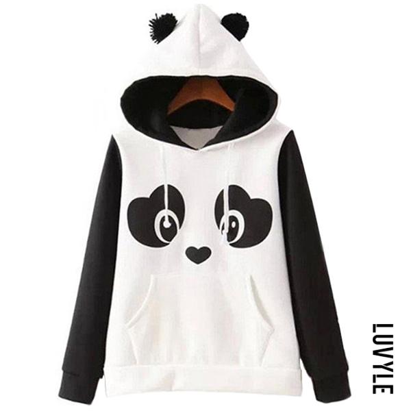 White Black Lovely Panda Color Block Kangaroo Pocket Hoodie White Black Lovely Panda Color Block Kangaroo Pocket Hoodie