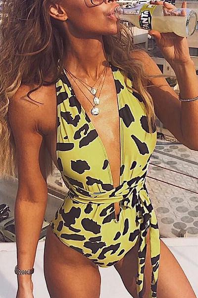 Leopard Print Deep V-Neck One-Piece Swimsuit
