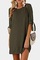 Round Neck  Bow  Plain Casual Dresses
