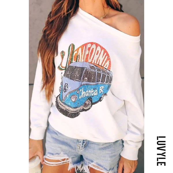 White Casual Long Sleeve Cartoon Hoodies White Casual Long Sleeve Cartoon Hoodies