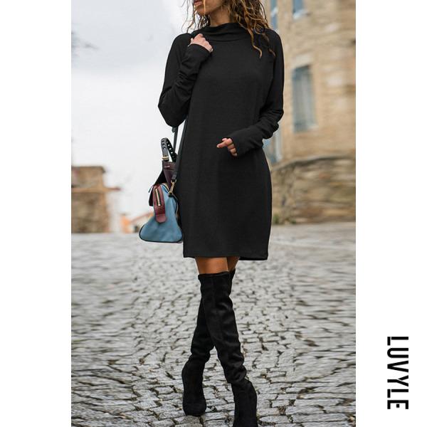 Black Turtle Neck Plain Long Sleeve Brief Casual Dress Black Turtle Neck Plain Long Sleeve Brief Casual Dress