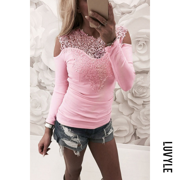 Pink Open Shoulder Round Neck Hollow Out Plain T-Shirts Pink Open Shoulder Round Neck Hollow Out Plain T-Shirts