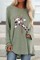 Giraffe Printed Loose Casual T-shirt