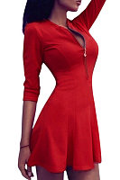 Red Sexy V-neck zipper Bodycon Mini Dress