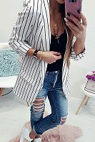 Fold Over Collar  Striped Blazers