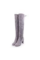 Thigh High High heeled Chunky Point Toe Boots