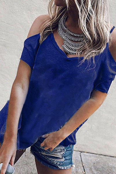 Open Shoulder Spaghetti Strap  Cutout  Plain T-Shirts