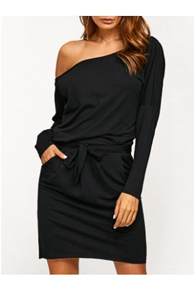 Asymmetric Neck  Bowknot  Back Hole Belt  Plain Bodycon Dresses
