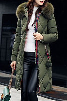 Faux Fur Collar  Zipper  Plain Outerwear