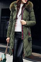 Faux Fur Collar  Zipper  Plain Outerwear