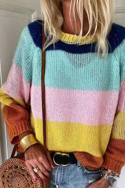 Casual Contrast Color Long Sleeve Round Neck Sweater