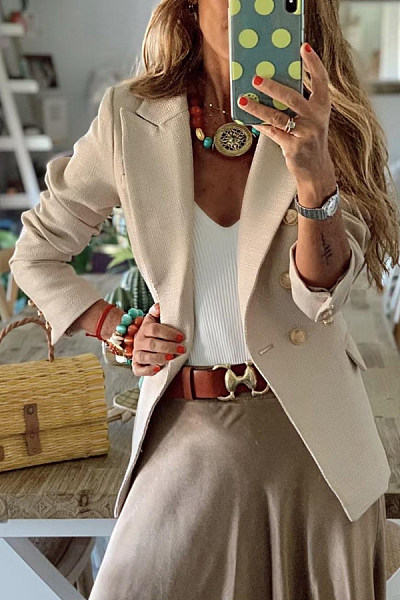 Casual Notch Lapel Decorative Buttons Plain Blazer