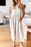 Casual Round Neck Sleeveless Pure Colour Jumpsuits