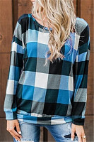 Round Neck Long Sleeve Plaid T-shirt