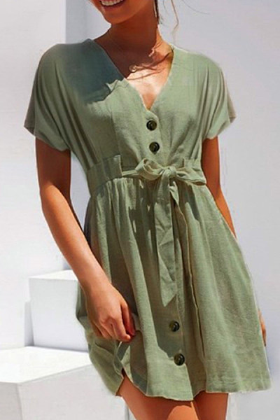 V Neck  Single Breasted  Plain  Short Sleeve Skater Dresses
