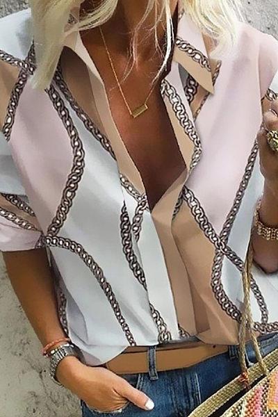 A Lapel Long Sleeve Printed Blouse