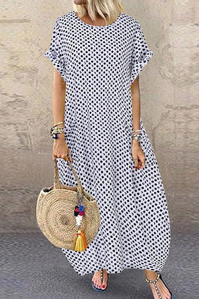Casual Dot Print Short Sleeve Large Size Lantern Dress