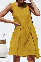 Round Neck  Plain Casual Dresses