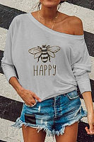 Fashion Women's Long Sleeve Print Strapless T-Shirt