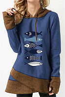 Casual Long Sleeve Colouring Fish Elephant Printed Hoody Sweatshirt