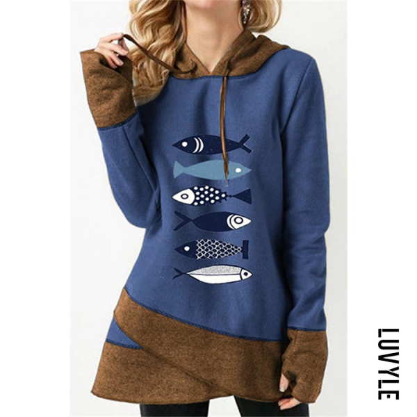 Blue Casual Long Sleeve Colouring Fish Elephant Printed Hoody Sweatshirt Blue Casual Long Sleeve Colouring Fish Elephant Printed Hoody Sweatshirt