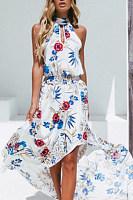 Halter  Asymmetric Hem  Print  Sleeveless Maxi Dresses