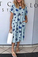 Round Neck Short Sleeve Floral Casual Dress