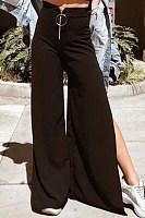 Side Slit  Plain Casual  Pants